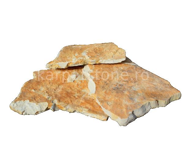 Adria - Calcar galben rustic, neregulata (poligonala) cu grosime de 1,5 - 2 cm este folosit atat in incaperi interioare cat si pe pereti exterioare. Avand o culoare calda alb-galbui cu suprafata rustica este des folosit la placat gard, soclu.
