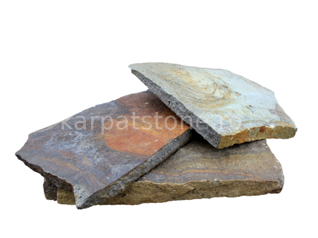 Enkara - Rusty-brown-grey andesite, irregular form, with 1-4 cm thickness