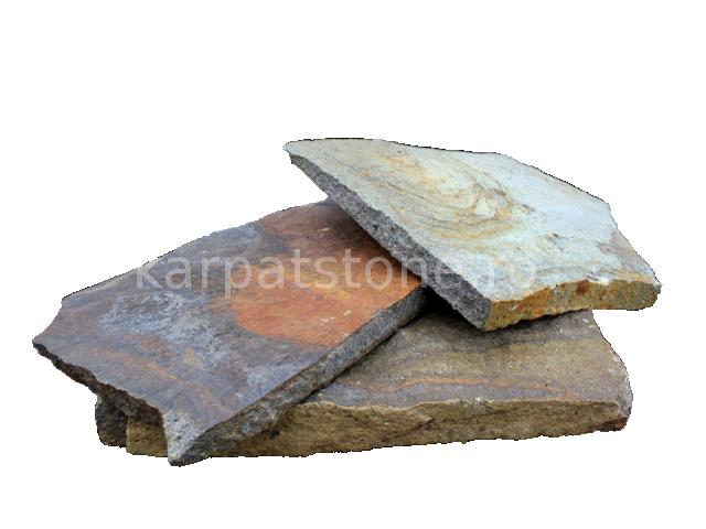 Rozsdabarna szürke andezit, 1- 4 cm és 2-6 cm vastagságban található, lábazatok, kerítések, járdák, teraszok fagyálló burkolóköve