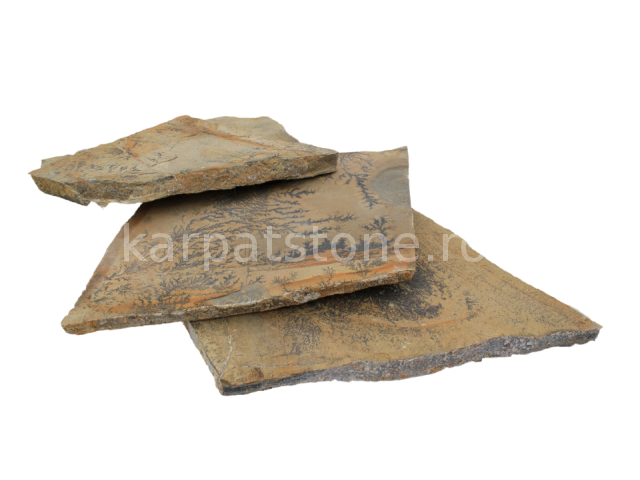 Terra capucino - Gresie calcaroasă cu urme de cu urme de cuartzit, formă neregulată (poligonală), cu grosime de 1,5-2,5 cm, disponibil în plăci mici şi în plăci mari