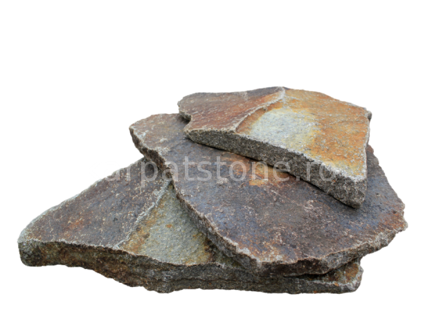 Enkara - Antique rusty-brown-grey andesite, irregular form, with 1-4 cm thickness