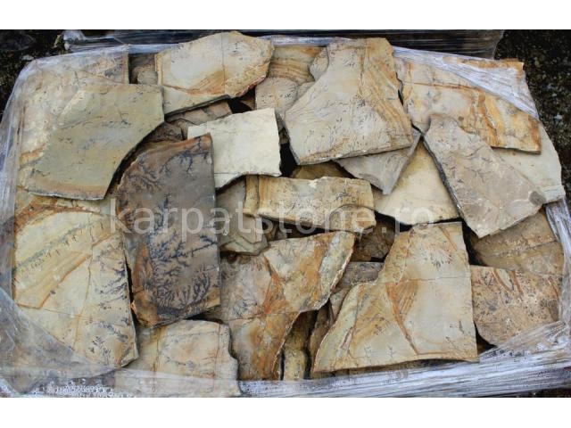 Terra capucino - Gresie calcaroasă, formă neregulată (poligonală) cu grosime de 1,5-2,5 cm