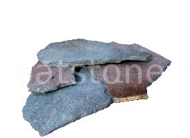 Kék-orgona andezit, szabálytalan alakzat, 1-2,5 cm és 2,5-5 cm vastagságban, kül és beltéri alkalmazás egyaránt lehetséges, teljesen fagyálló burkolókő